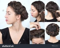 process weaving braid hairstyle long stock photo 514870810