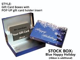blue happy holidays gift card box with pop up insert swipeit