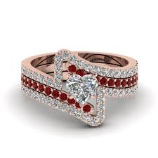 Gold Wedding Ring Sets by Burmese Ruby And Diamond Engagemet Ring Band In 14k White Gold