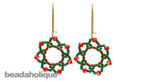 how to bead weave the festive holiday flower earrings youtube