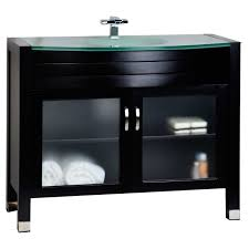 Modern Solid Wood Bathroom Vanity With Glass Top Espresso AG - Solid wood bathroom vanity top