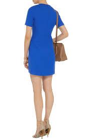 tibi scuba jerseybacked twill mini dress in blue lyst