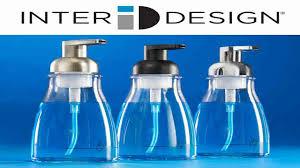 mdesign glass foaming soap dispenser pump 2 pc bathroom accessory