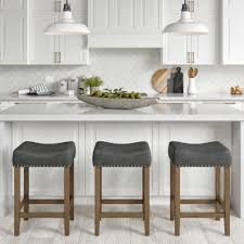 gray brown stained kitchen cabinets hylie nailhead wood pub height counter bar stool 24 gray pu leather cushion light brown finish