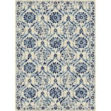 Rug Color New Persian Floral Design Multi Color Cream Blue White Polyester