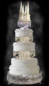 gorgeous wedding cake with swarovski crystal cinderella castle