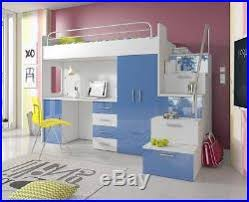 Bunk Bed Wardrobe Bunk Bed Wardrobe Desk Stairs Storage Bedroom Furniture High Gloss