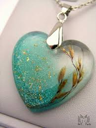 resin necklace pendants images Grass seed cast in heart shaped resin necklace pendant jewellery jpg