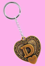 k1088 key chains stainless steel key ring letter d love heart