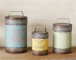 rustic canisters ebay rustic decor 3pc canister set sugar flour coffee country farm metal canisters