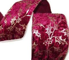 burgundy wired ribbon christmas burgundy wine crushed velvet gold vines wide