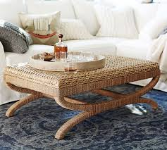 Pottery Barn Paddles Seagrass Coffee Table Ottoman Pottery Barn Living Room Natural