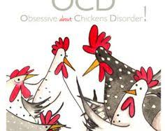 ocd greeting card chicken card blank inside by sarahboddyuk