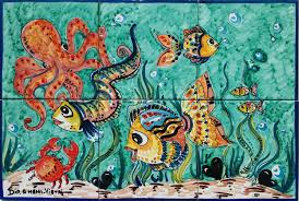 Kitchen Tile Murals Tile Art Backsplashes by Octopus U0026 Sea Life Of Vietri Italy Backsplash Italian Mural Store