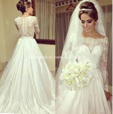china boat neck ball gowns lace long sleeve wedding dresses z8014