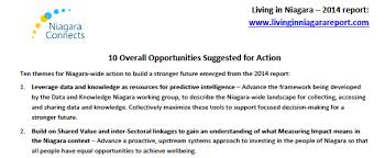 living in niagara 2014 ten overall themes and 57 suggested