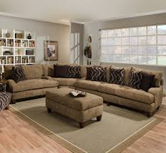 Rustic Laminate Flooring Brown Sofa With Cushions On Grey Soft Carpet On Rustic Wooden