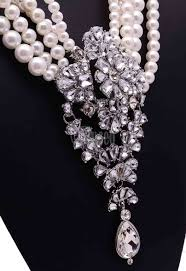 pearl crystal statement necklace images European style big drop crystal white simulated pearl statement jpg