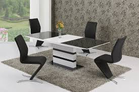 Black Glass Extending Dining Table 6 Chairs Arctic Grey Glass Top And White Gloss Extending Dining Table