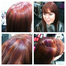 natural red hair with highlights and lowlights before after affinage usa