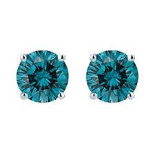 blue diamond stud earrings 14k white gold 1 5 carat sky blue diamond stud earrings available