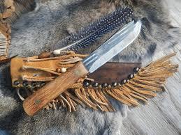 razor sharp vtg butcher skinning knife avl russell green river old school mountain man style custom leather knife sheath for hickory butcher