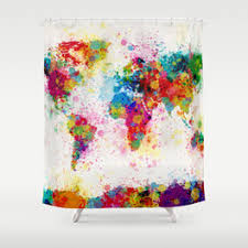 Shower Curtain World Map Map Of The World Shower Curtains Society6