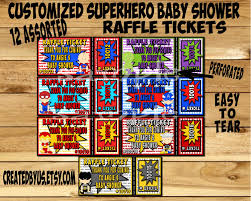 superhero baby shower party raffle tickets prize raffle