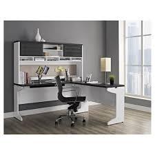 L Shaped Desk With Hutch Pursuit L Shaped Desk With Hutch Bundle White Gray Ameriwood