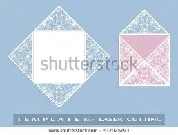 square laser cut envelope template vector stock vector 522983611