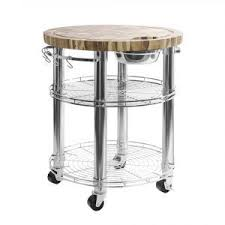 rolling solid acacia butcher block top kitchen island cart with