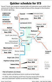 Light Rail Map Seattle Light Rail Stations Could Open Years Earlier Under New Sound