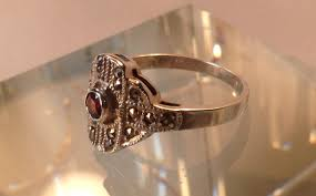 vintage art deco ruby marcasite sterling silver ring w jeweler u0027s