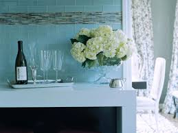 blue glass tile kitchen backsplash with black countertops and a self adhesive backsplash tiles hgtv light