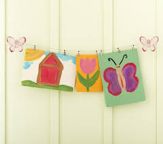 hanging kids artwork butterfly art cable system pottery barn kids