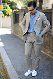 suit without a tie cotton suit with superga sneakers