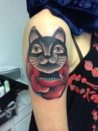 black cat and red rose tattoo on shoulder tattoos book 65 000