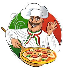 chef pizza chef with pizza vector material alimentos y bebidas vector