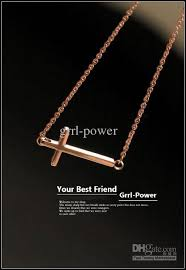 cross rose gold necklace images Wholesale tiny sideways cross necklace rose gold plating 316l jpg
