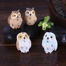 owl plastic resin miniature garden statues lawn ornaments ebay