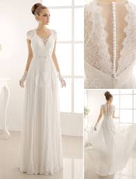 a linie brautkleid aus chiffon in elfenbeinfarbe milanoo milanoo - Milanoo Brautkleider
