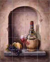 wine vino chianti kitchen backsplash tile mural accent tiles