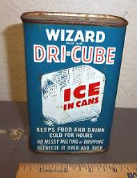 vintage wizard dri cube tin ice in cans great colors graphics