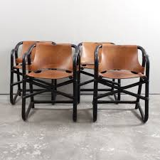 black bentwood cognac leather safari dining chairs dining