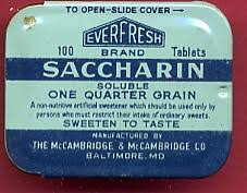 Sweeteners, tabletop, saccharin