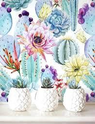 removable wallpaper uk self adhesive wallpaper cheap watercolor cactus wallpaper