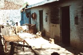 file delhi slum improvement 1983 brick one storey houses bicycle