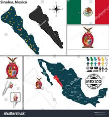 Leon Mexico Map by Vector Map State Sinaloa Coat Arms Stock Vector 239879119