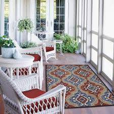 Easy To Clean Outdoor Rug Lawn Garden Contemporary Mohawk Home Mystic Ikat Outdoor Rug