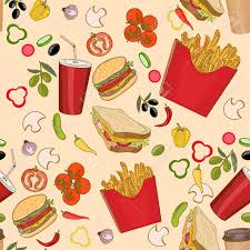 seamless pattern food fast food seamless pattern fast food seamless background vector